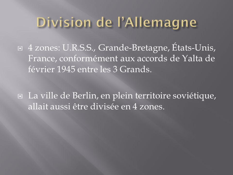 4 zones: U.R.S.S., Grande-Bretagne, États-Unis, France, conformément aux accords de Yalta de février 1945 entre les 3 Grands. La ville de Berlin, en p