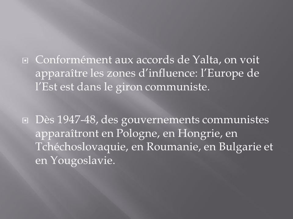 Conformément aux accords de Yalta, on voit apparaître les zones dinfluence: lEurope de lEst est dans le giron communiste. Dès 1947-48, des gouvernemen