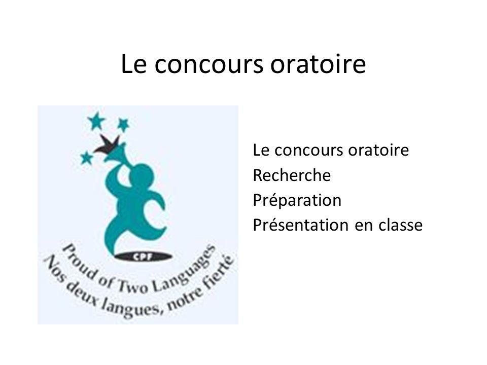 Le concours oratoire Recherche Préparation Présentation en classe