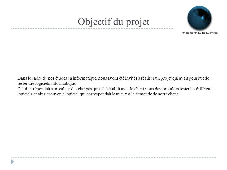 Objectif du projet Dans le cadre de nos études en informatique, nous avons été invités à réaliser un projet qui avait pour but de tester des logiciels