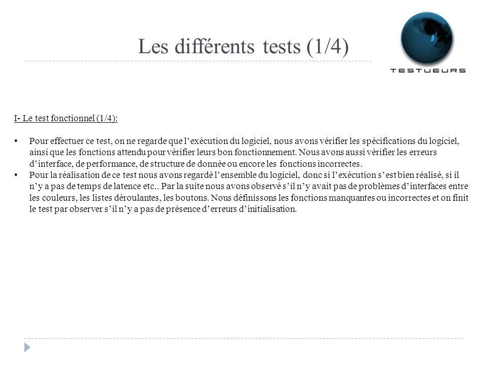 Les différents tests (1/4) I- Le test fonctionnel (1/4): Pour effectuer ce test, on ne regarde que lexécution du logiciel, nous avons vérifier les spécifications du logiciel, ainsi que les fonctions attendu pour vérifier leurs bon fonctionnement.