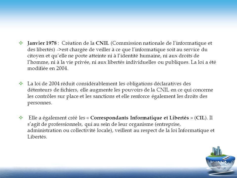 Janvier 1978 : Création de la CNIL (Commission nationale de linformatique et des libertés) ->est chargée de veiller à ce que linformatique soit au ser