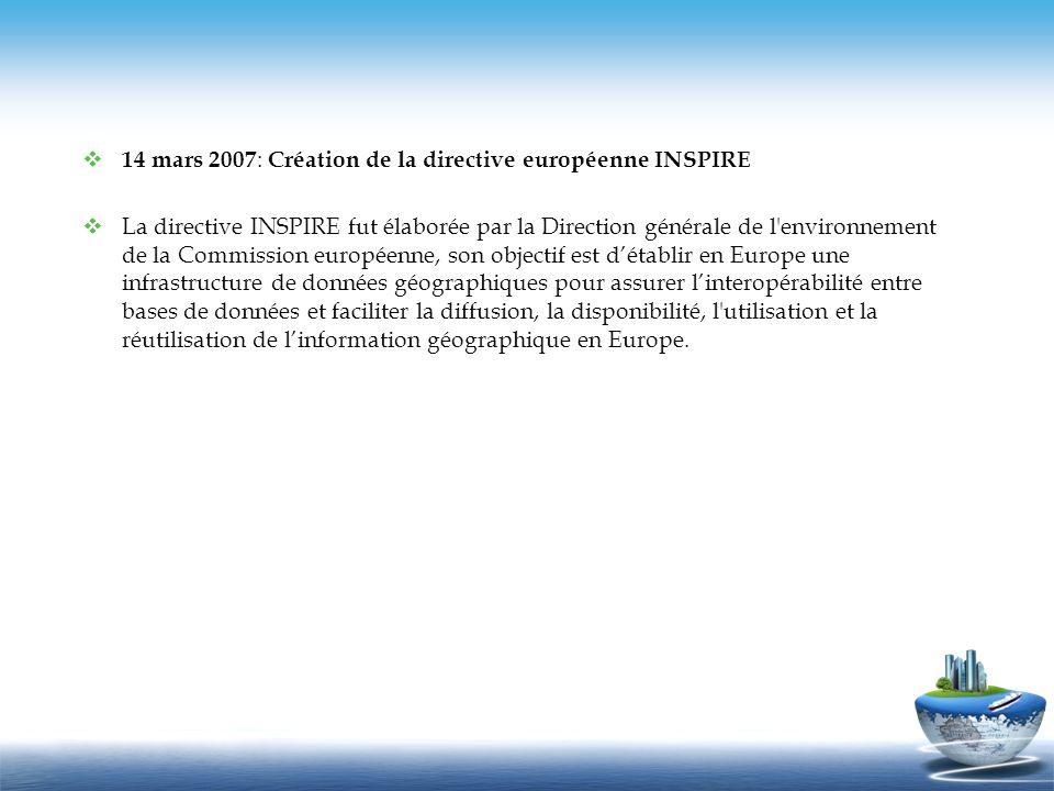 14 mars 2007 : Création de la directive européenne INSPIRE La directive INSPIRE fut élaborée par la Direction générale de l'environnement de la Commis