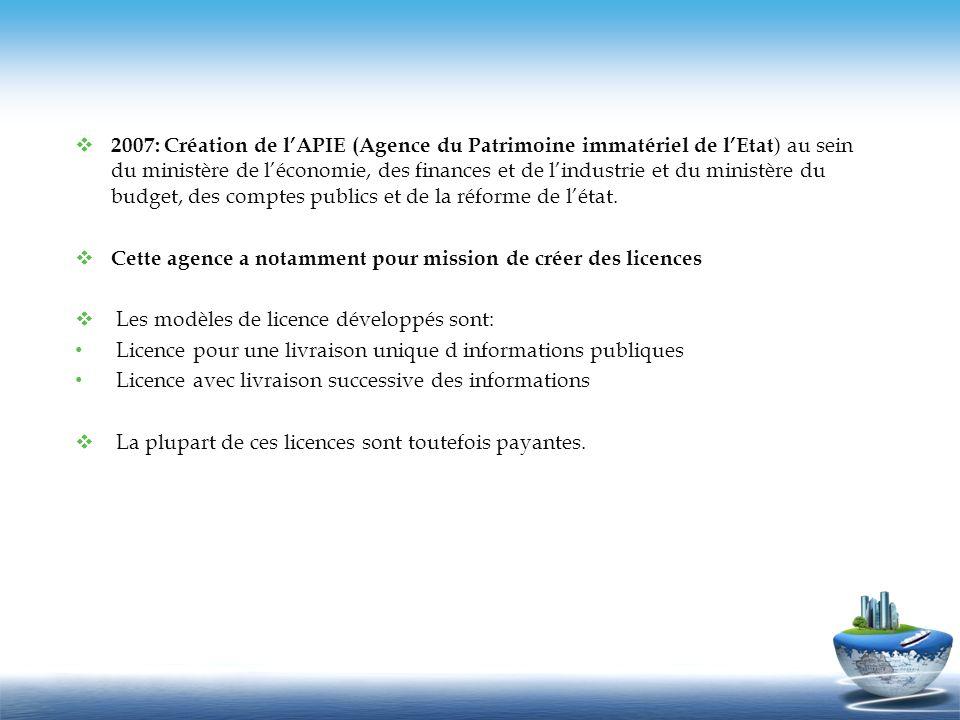 2007: Création de lAPIE (Agence du Patrimoine immatériel de lEtat ) au sein du ministère de léconomie, des finances et de lindustrie et du ministère d