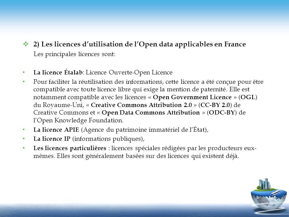 2) Les licences dutilisation de lOpen data applicables en France Les principales licences sont: La licence Étalab : Licence Ouverte-Open Licence Pour