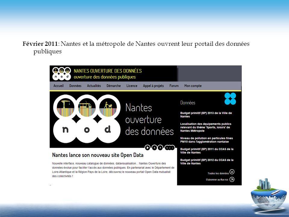 Février 2011 : Nantes et la métropole de Nantes ouvrent leur portail des données publiques