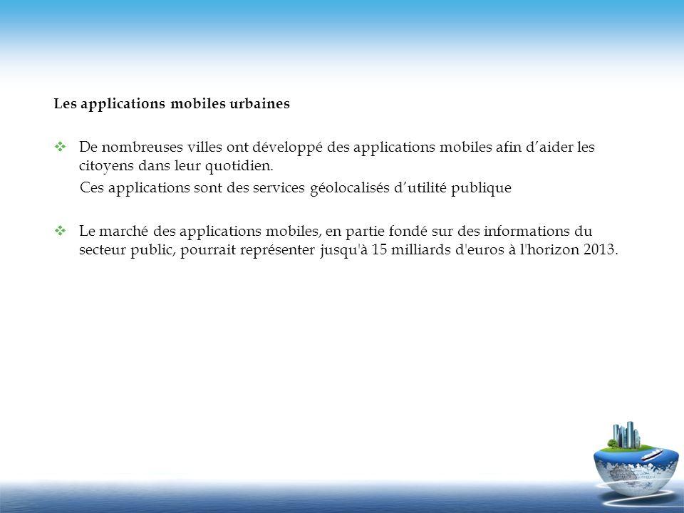Les applications mobiles urbaines De nombreuses villes ont développé des applications mobiles afin daider les citoyens dans leur quotidien. Ces applic