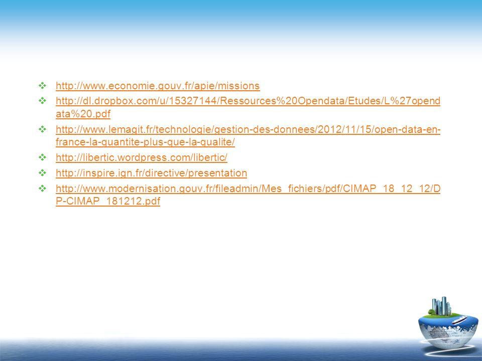http://www.economie.gouv.fr/apie/missions http://dl.dropbox.com/u/15327144/Ressources%20Opendata/Etudes/L%27opend ata%20.pdf http://dl.dropbox.com/u/1