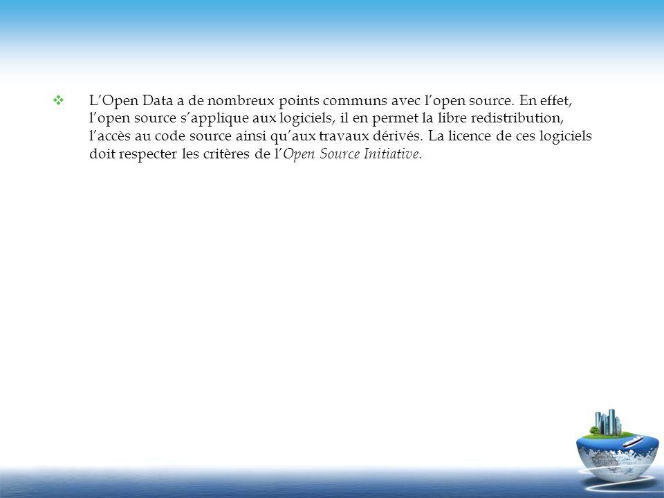 2) Les licences dutilisation de lOpen data applicables en France Les principales licences sont: La licence Étalab : Licence Ouverte-Open Licence Pour faciliter la réutilisation des informations, cette licence a été conçue pour être compatible avec toute licence libre qui exige la mention de paternité.