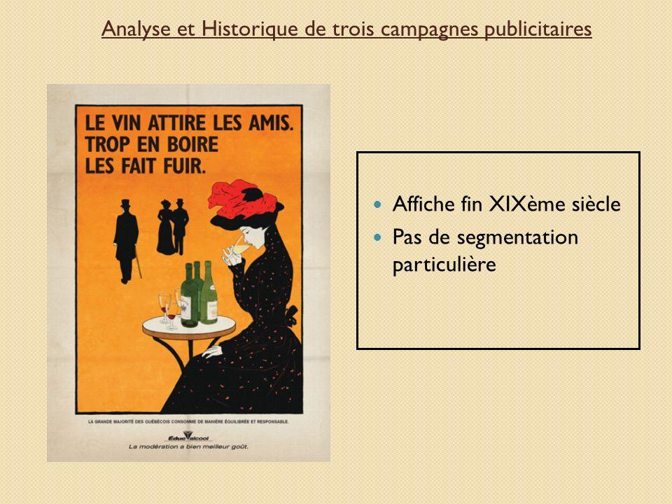 Affiche fin XIXème siècle Pas de segmentation particulière Analyse et Historique de trois campagnes publicitaires