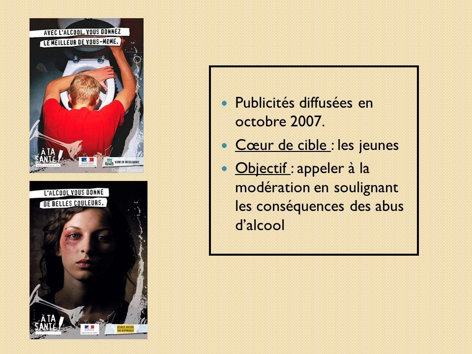 Publicités diffusées en octobre 2007. Cœur de cible : les jeunes Objectif : appeler à la modération en soulignant les conséquences des abus dalcool