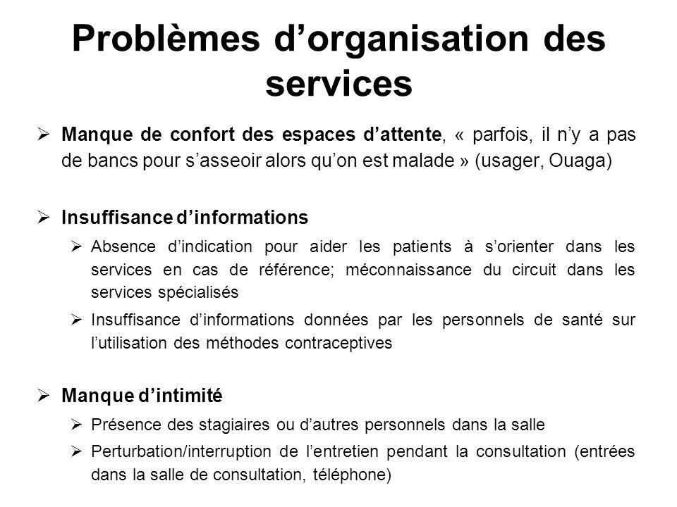 Problèmes dorganisation des services Manque de confort des espaces dattente, « parfois, il ny a pas de bancs pour sasseoir alors quon est malade » (us