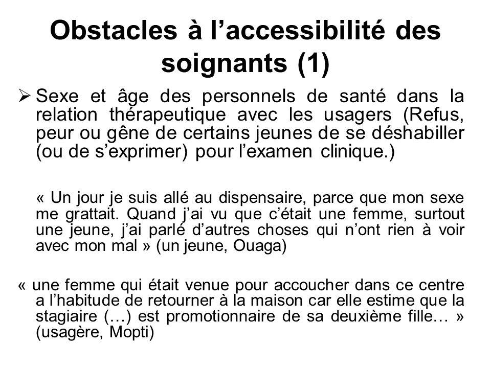 Obstacles à laccessibilité des soignants (1) Sexe et âge des personnels de santé dans la relation thérapeutique avec les usagers (Refus, peur ou gêne