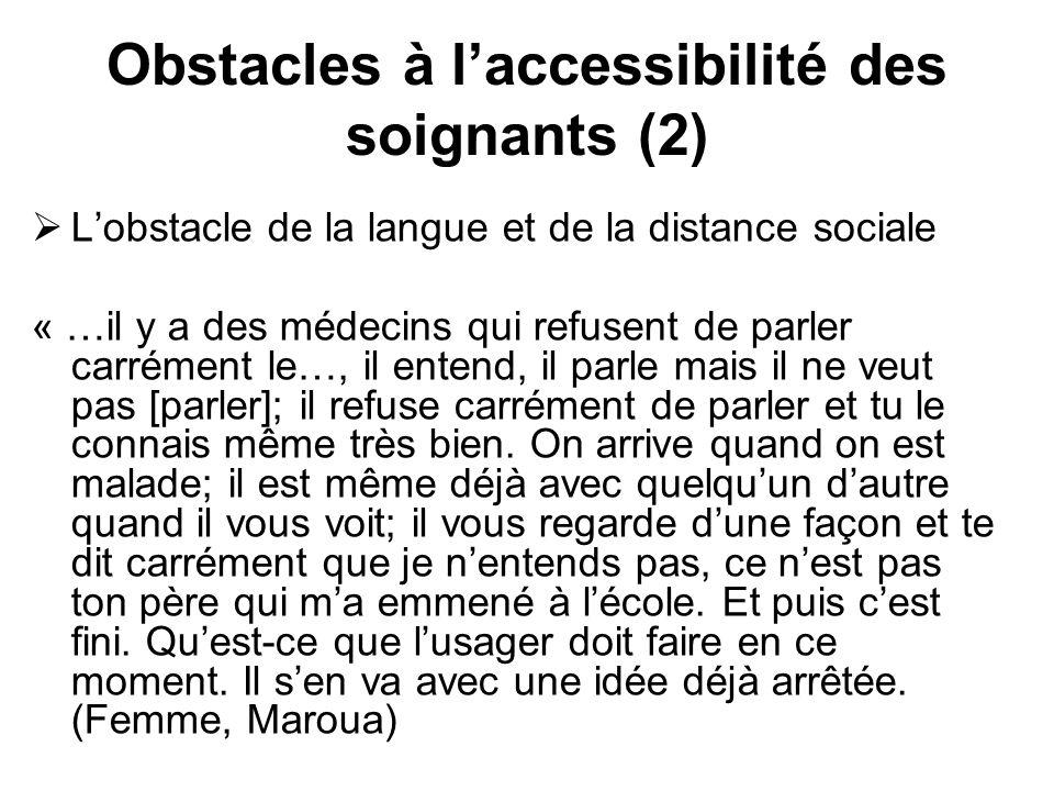 Obstacles à laccessibilité des soignants (2) Lobstacle de la langue et de la distance sociale « …il y a des médecins qui refusent de parler carrément