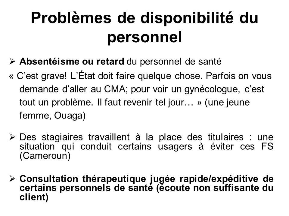 Problèmes de disponibilité du personnel Absentéisme ou retard du personnel de santé « Cest grave! LÉtat doit faire quelque chose. Parfois on vous dema
