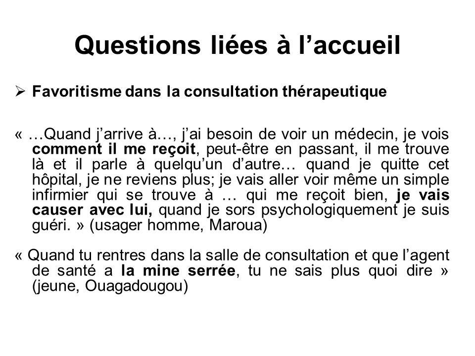Questions liées à laccueil Favoritisme dans la consultation thérapeutique « …Quand jarrive à…, jai besoin de voir un médecin, je vois comment il me re