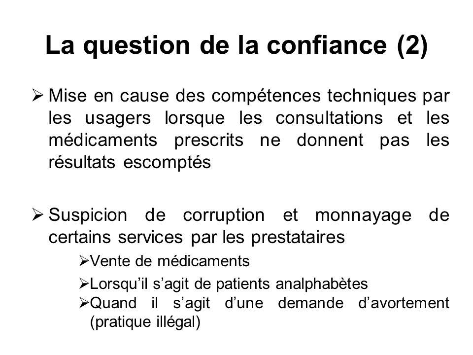 La question de la confiance (2) Mise en cause des compétences techniques par les usagers lorsque les consultations et les médicaments prescrits ne don