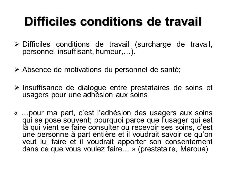 Difficiles conditions de travail Difficiles conditions de travail (surcharge de travail, personnel insuffisant, humeur,…). Absence de motivations du p