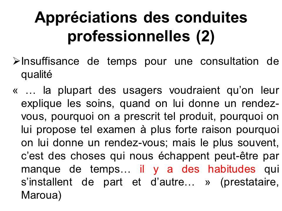 Appréciations des conduites professionnelles (2) Insuffisance de temps pour une consultation de qualité « … la plupart des usagers voudraient quon leu