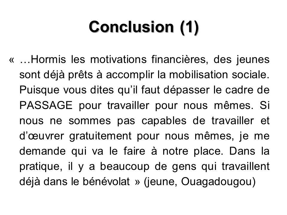 Conclusion (1) « …Hormis les motivations financières, des jeunes sont déjà prêts à accomplir la mobilisation sociale. Puisque vous dites quil faut dép
