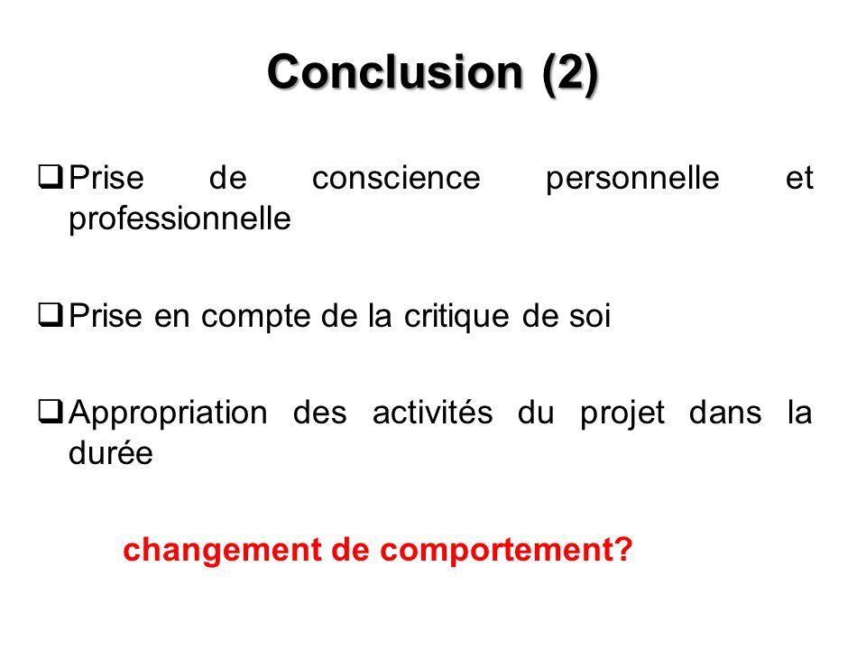 Conclusion (2) Prise de conscience personnelle et professionnelle Prise en compte de la critique de soi Appropriation des activités du projet dans la
