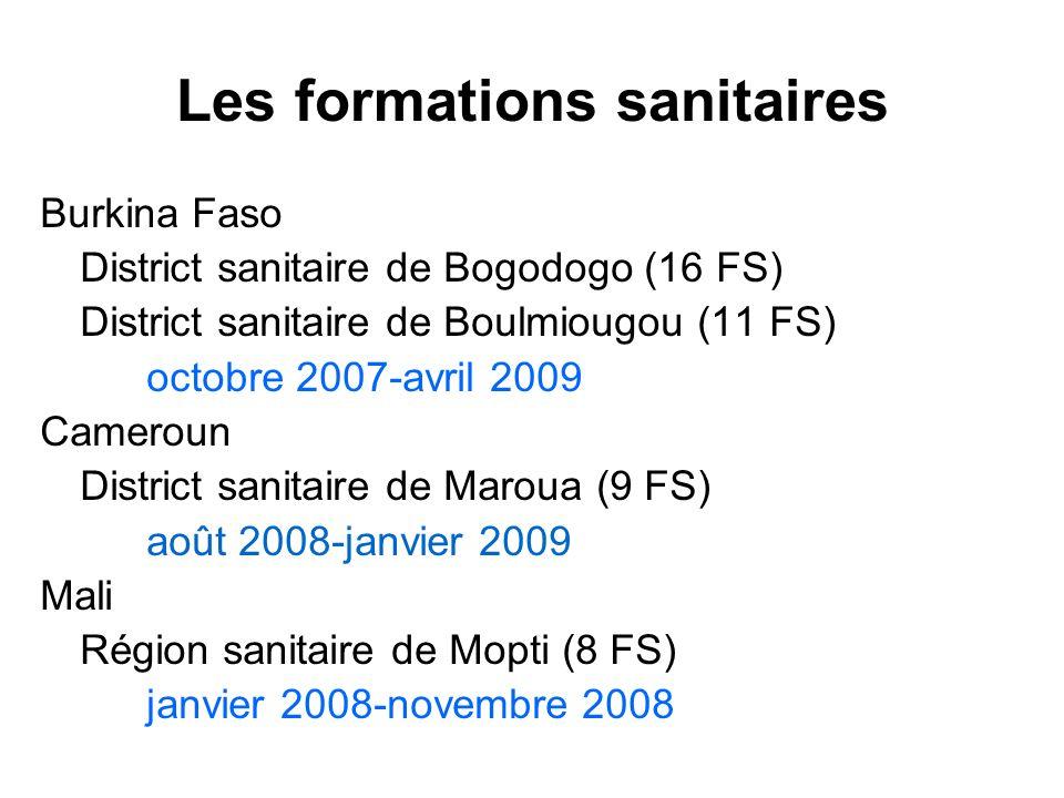 Les formations sanitaires Burkina Faso District sanitaire de Bogodogo (16 FS) District sanitaire de Boulmiougou (11 FS) octobre 2007-avril 2009 Camero