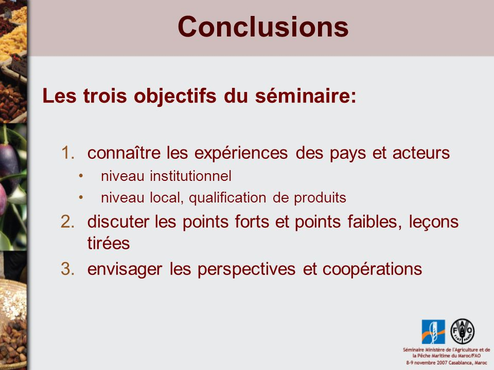 Conclusions Les trois objectifs du séminaire: 1.connaître les expériences des pays et acteurs niveau institutionnel niveau local, qualification de pro