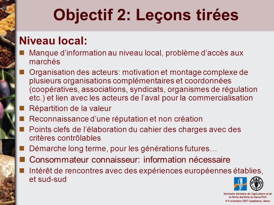 Objectif 3: Perspectives de coopération Cf.