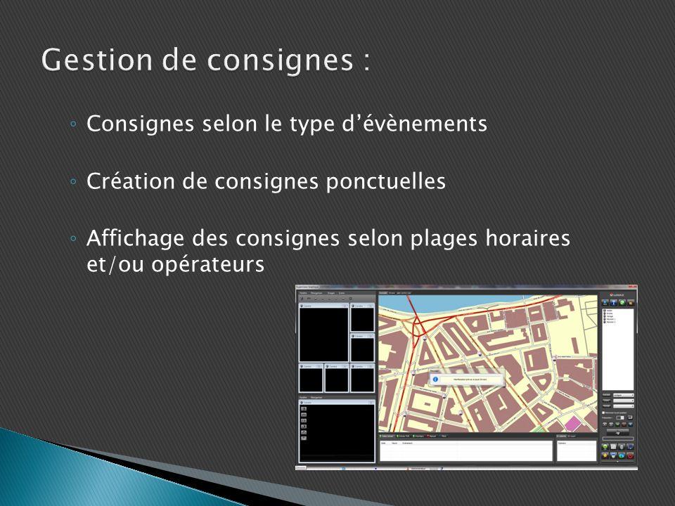 Consignes selon le type dévènements Création de consignes ponctuelles Affichage des consignes selon plages horaires et/ou opérateurs