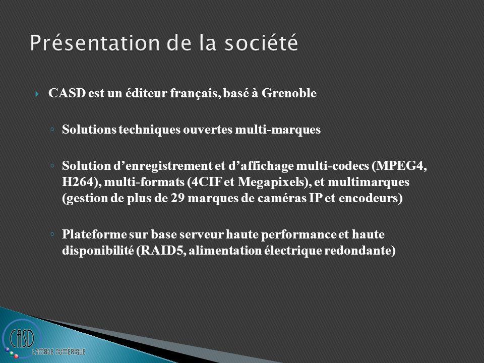 CASD est un éditeur français, basé à Grenoble Solutions techniques ouvertes multi-marques Solution denregistrement et daffichage multi-codecs (MPEG4,