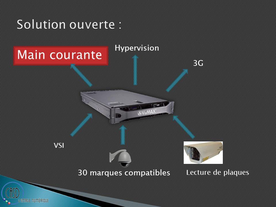 30 marques compatibles Lecture de plaques VSI Hypervision Main courante 3G