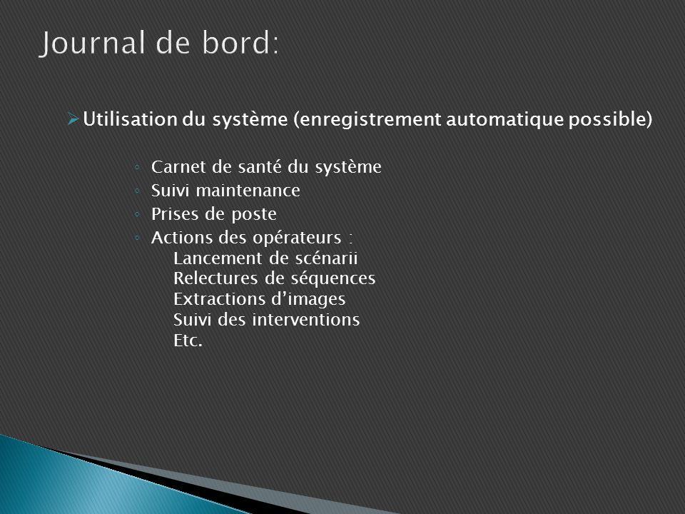 Utilisation du système (enregistrement automatique possible) Carnet de santé du système Suivi maintenance Prises de poste Actions des opérateurs : Lan