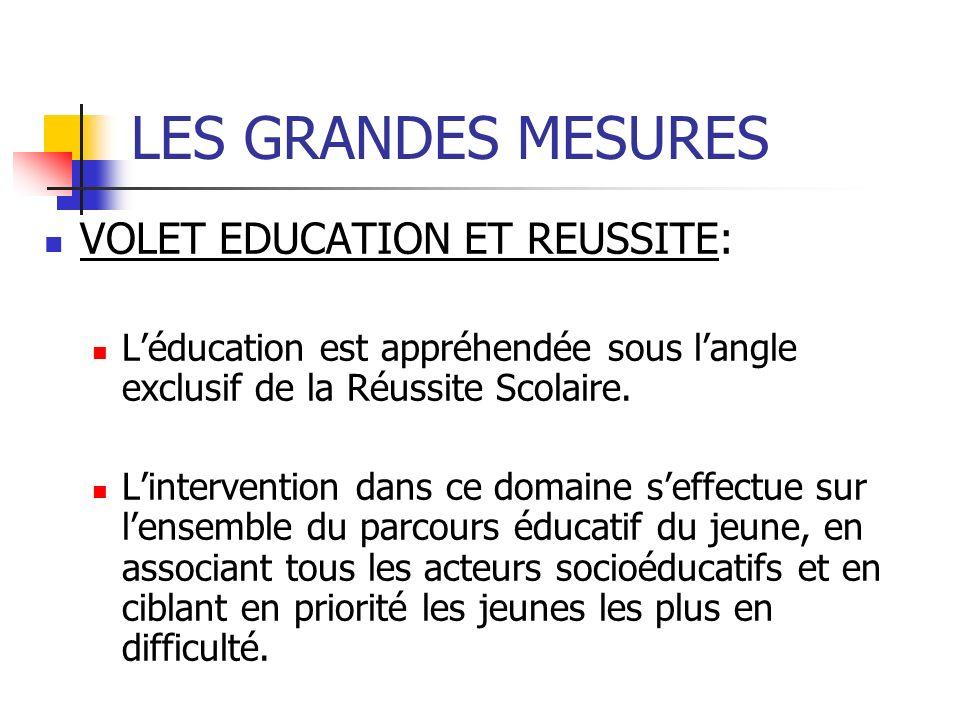 LES GRANDES MESURES VOLET EDUCATION ET REUSSITE: Léducation est appréhendée sous langle exclusif de la Réussite Scolaire.