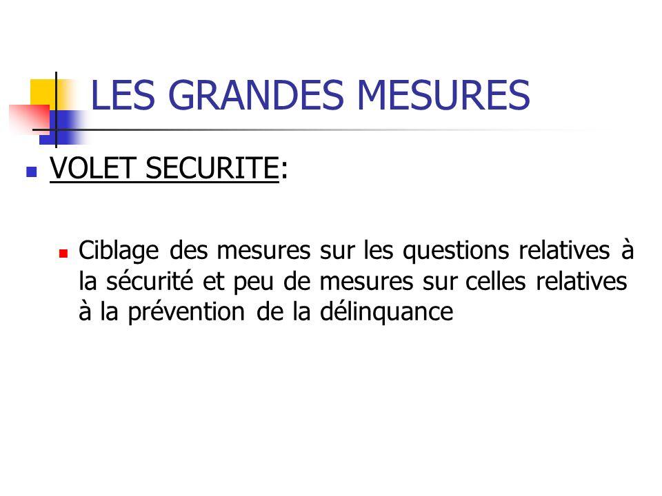 LES GRANDES MESURES VOLET SECURITE: Ciblage des mesures sur les questions relatives à la sécurité et peu de mesures sur celles relatives à la prévention de la délinquance