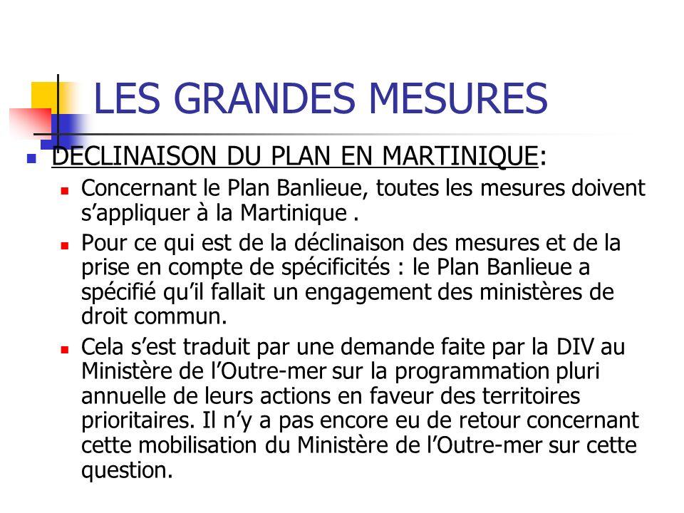 LES GRANDES MESURES DECLINAISON DU PLAN EN MARTINIQUE: Concernant le Plan Banlieue, toutes les mesures doivent sappliquer à la Martinique.