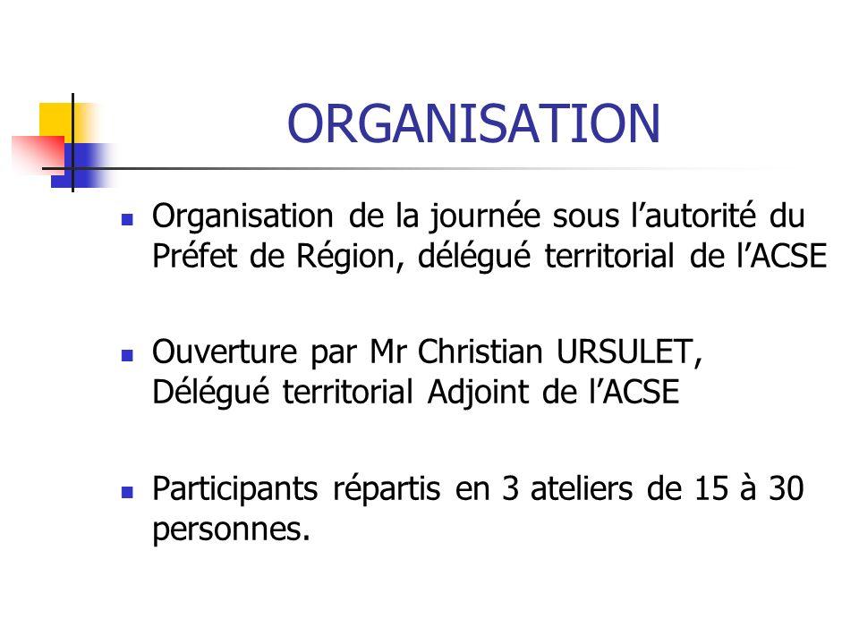 ORGANISATION Organisation de la journée sous lautorité du Préfet de Région, délégué territorial de lACSE Ouverture par Mr Christian URSULET, Délégué territorial Adjoint de lACSE Participants répartis en 3 ateliers de 15 à 30 personnes.