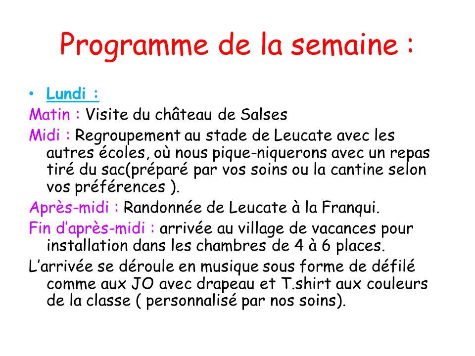 Programme de la semaine : Lundi : Matin : Visite du château de Salses Midi : Regroupement au stade de Leucate avec les autres écoles, où nous pique-ni