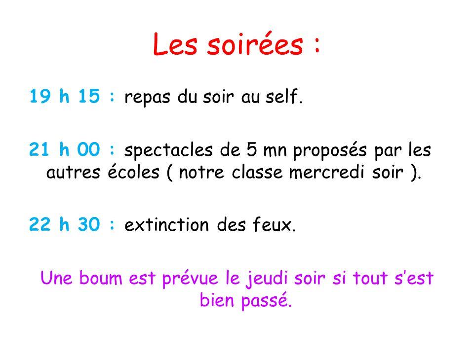Les soirées : 19 h 15 : repas du soir au self. 21 h 00 : spectacles de 5 mn proposés par les autres écoles ( notre classe mercredi soir ). 22 h 30 : e