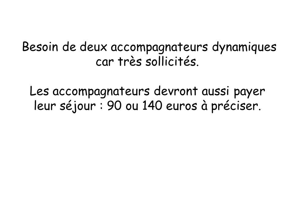 Besoin de deux accompagnateurs dynamiques car très sollicités. Les accompagnateurs devront aussi payer leur séjour : 90 ou 140 euros à préciser.