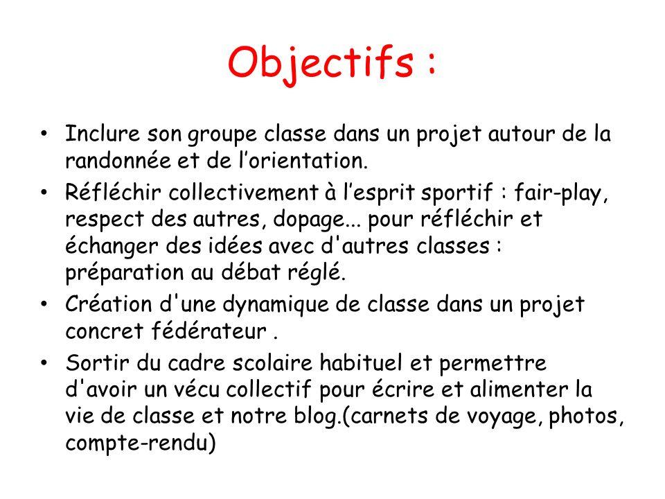 Objectifs : Inclure son groupe classe dans un projet autour de la randonnée et de lorientation. Réfléchir collectivement à lesprit sportif : fair-play
