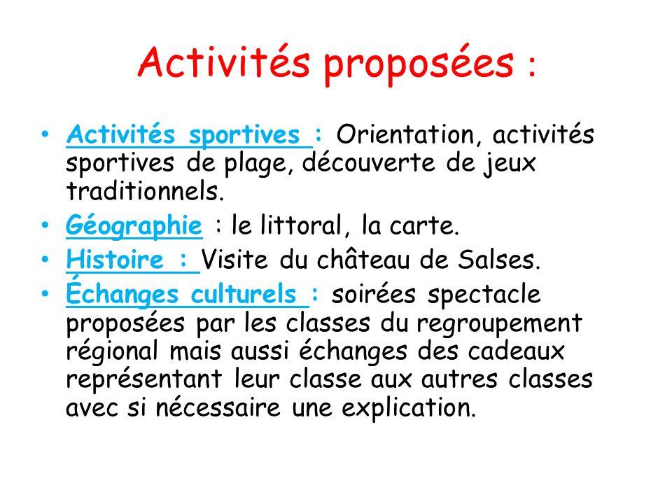 Activités proposées : Activités sportives : Orientation, activités sportives de plage, découverte de jeux traditionnels. Géographie : le littoral, la