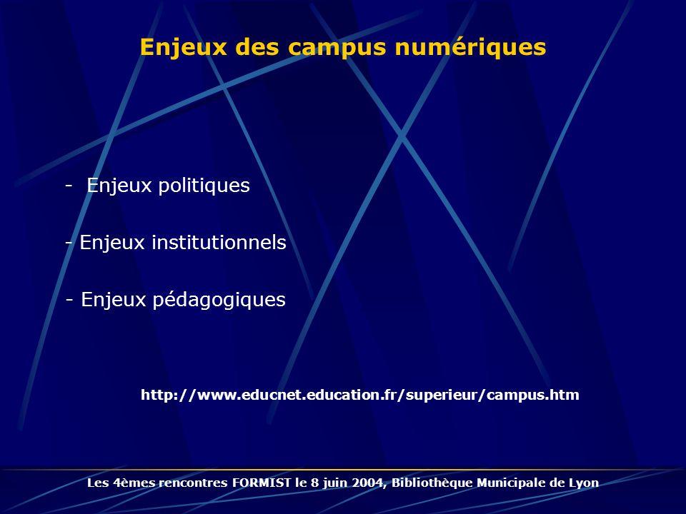 - Enjeux politiques http://www.educnet.education.fr/superieur/campus.htm Enjeux des campus numériques Les 4èmes rencontres FORMIST le 8 juin 2004, Bibliothèque Municipale de Lyon - Enjeux institutionnels - Enjeux pédagogiques