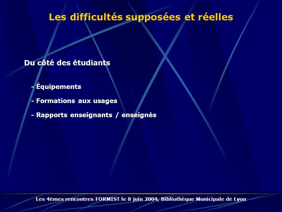 Du côté des étudiants - Équipements - Formations aux usages - Rapports enseignants / enseignés Les difficultés supposées et réelles Les 4èmes rencontres FORMIST le 8 juin 2004, Bibliothèque Municipale de Lyon