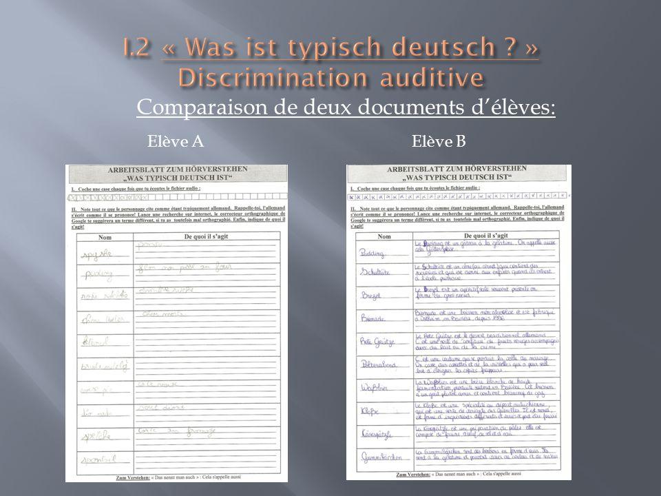 Comparaison de deux documents délèves: Elève AElève B