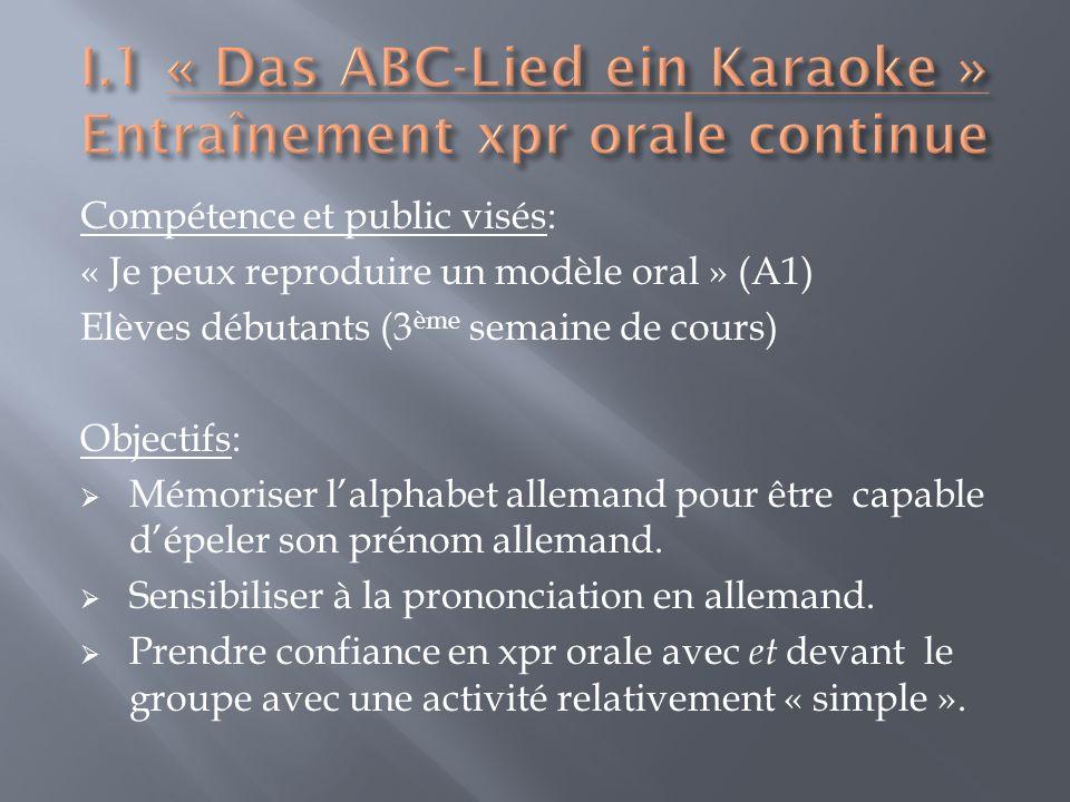 Compétence et public visés: « Je peux reproduire un modèle oral » (A1) Elèves débutants (3 ème semaine de cours) Objectifs: Mémoriser lalphabet allemand pour être capable dépeler son prénom allemand.