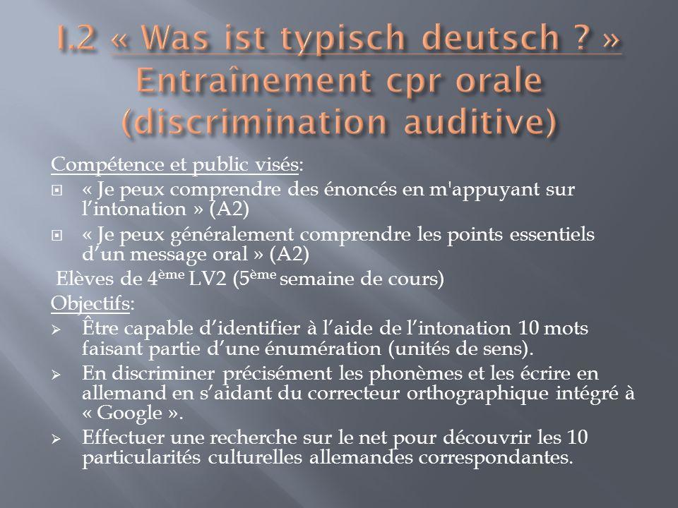 Descriptif: En préalable, en classe, les élèves ont travaillé sur la formation et laccentuation des mots composés en allemand et sur le lien, très fort en allemand, entre écrit et prononciation, notamment par de très courtes dictées.