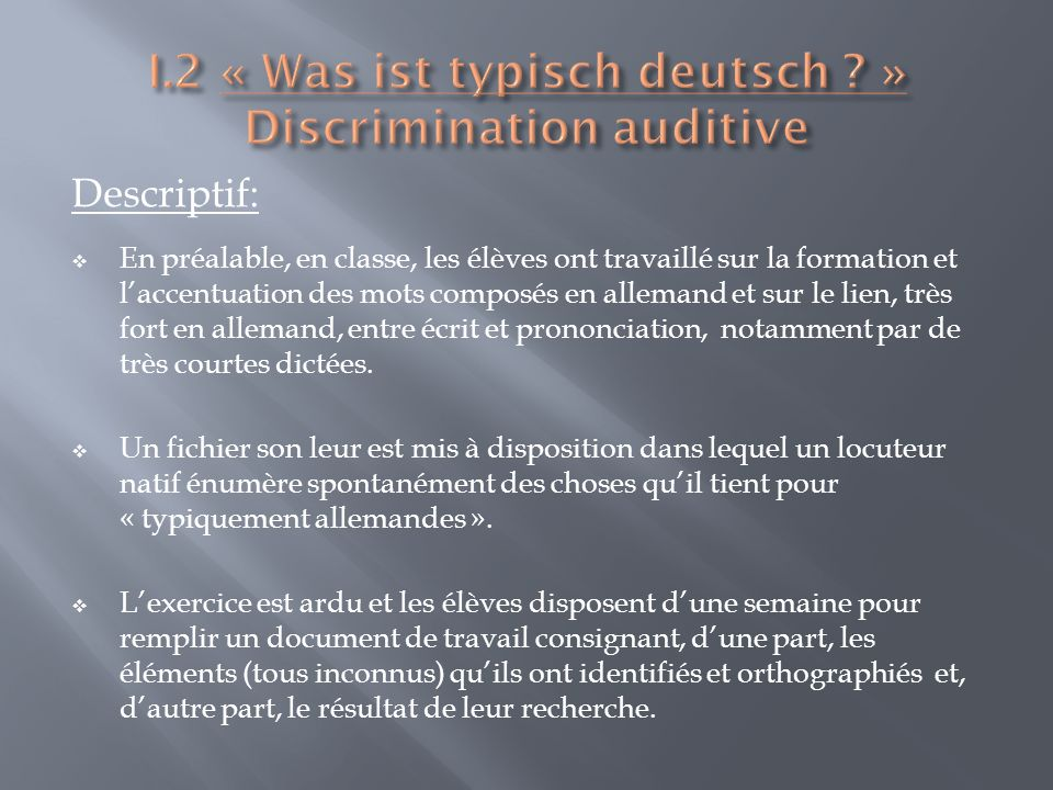 Tâche et document de travail donnés à lélève: Fichier audio: Source: http://www.au dio- lingua.eu/spip.