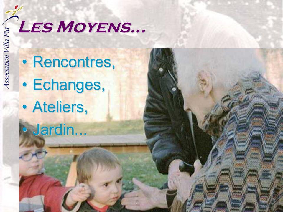 Les Moyens… Rencontres, Echanges, Ateliers, Jardin...