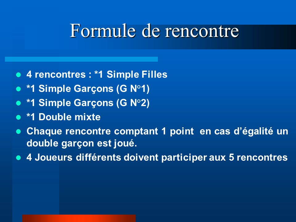 Formule de rencontre 4 rencontres : *1 Simple Filles *1 Simple Garçons (G N°1) *1 Simple Garçons (G N°2) *1 Double mixte Chaque rencontre comptant 1 point en cas dégalité un double garçon est joué.
