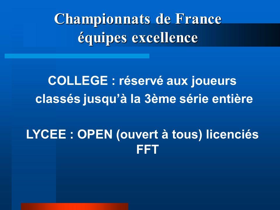 Championnats de France équipes excellence COLLEGE : réservé aux joueurs classés jusquà la 3ème série entière LYCEE : OPEN (ouvert à tous) licenciés FFT